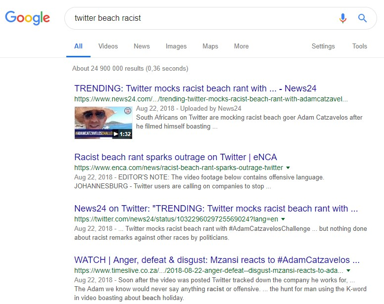 "Image of a google search of ""twitter beach racist"""