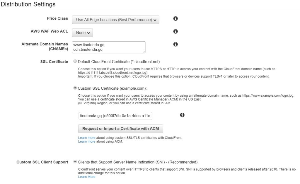 Image showing the CNAME and SSL certficate section in the Distribution settings.