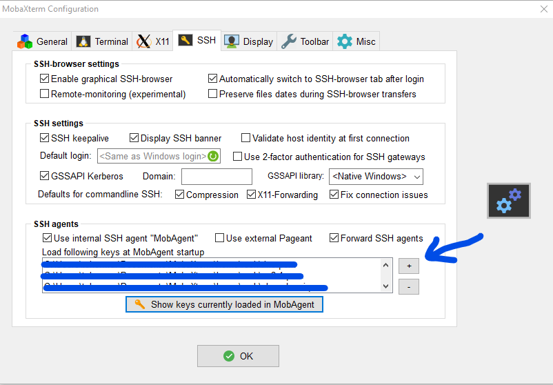 MobaXterm adding ssh keys